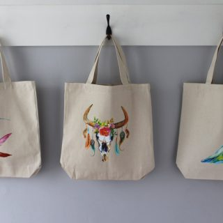 Quick and Easy Custom Tote Bags using beautiful iron-on transfers