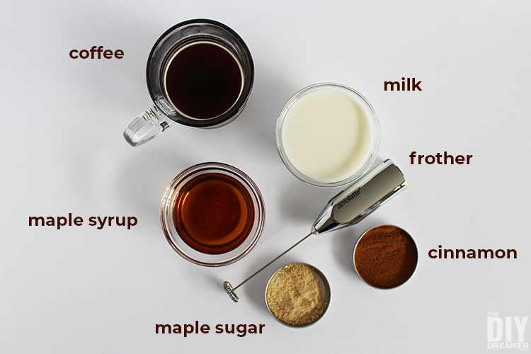 Ingredients for maple cafe au lait