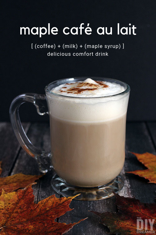 Maple Cafe au Lait Recipe. Delicious drink for cold weather.