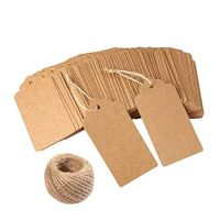 120 PCS Kraft Paper tags for Wedding Brown Rectangle Craft Hang Tags with Free 100 Feet Natural Jute Twine