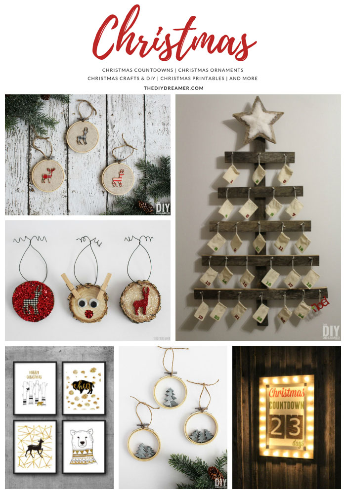 A collection of Christmas projects found at The DIY Dreamer. Countdowns, Ornaments, Crafts, DIY, Printables and more.