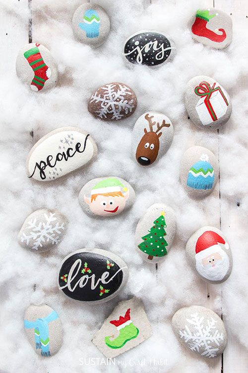 Rock painting Christmas holidays. Christmas craft for adults and kids.