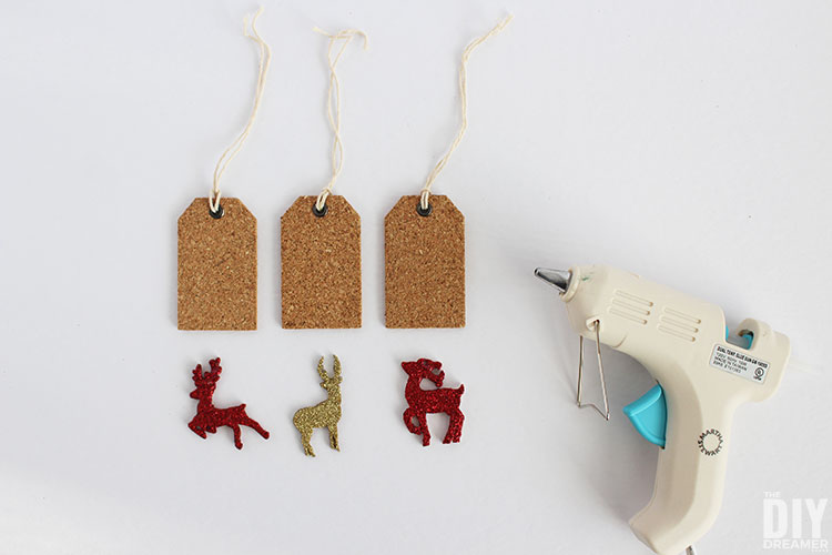 Attaching deer to gift tags