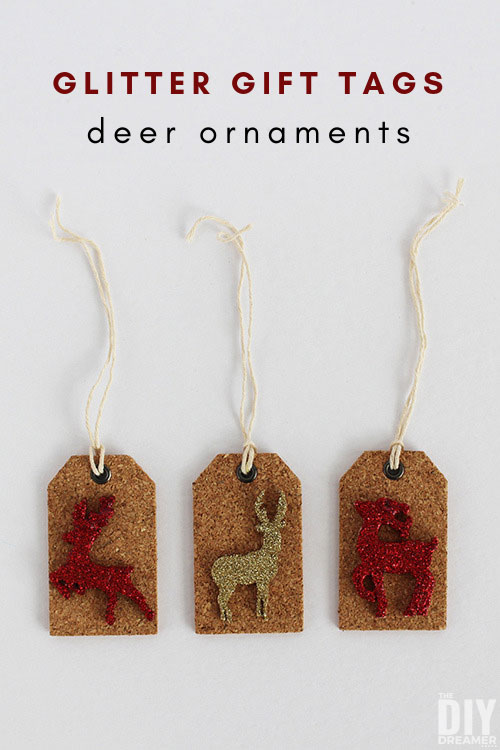 Glitter gift tags are easy to make and they can be used not only to add sparkle to gifts, they can also be used to decorate your tree. Decorate your gifts and tree with these Deer Gift Tag Ornaments.