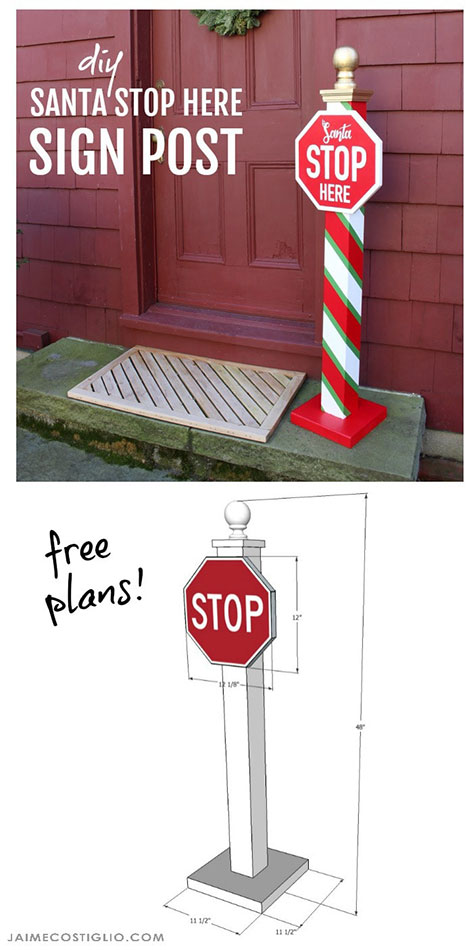 DIY Santa Stop Here Post with Free Plans