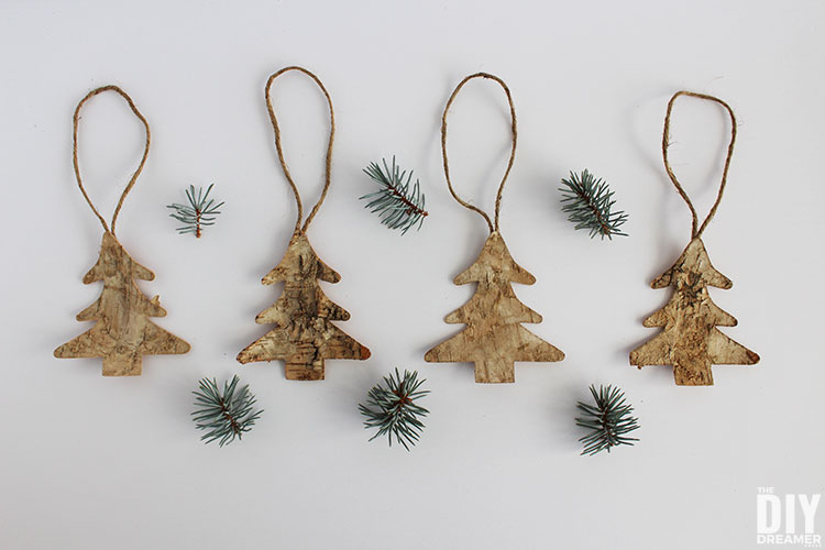 DIY Birch tree Christmas ornaments