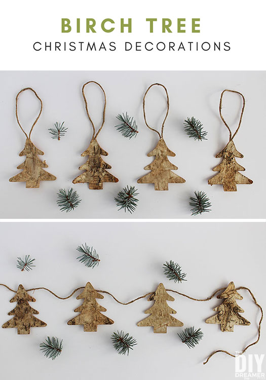Create beautiful rustic decorations like these birch tree Christmas decorations for your rustic themed Christmas. This tutorial demonstrate how you can transform many objects into Christmas decorations.