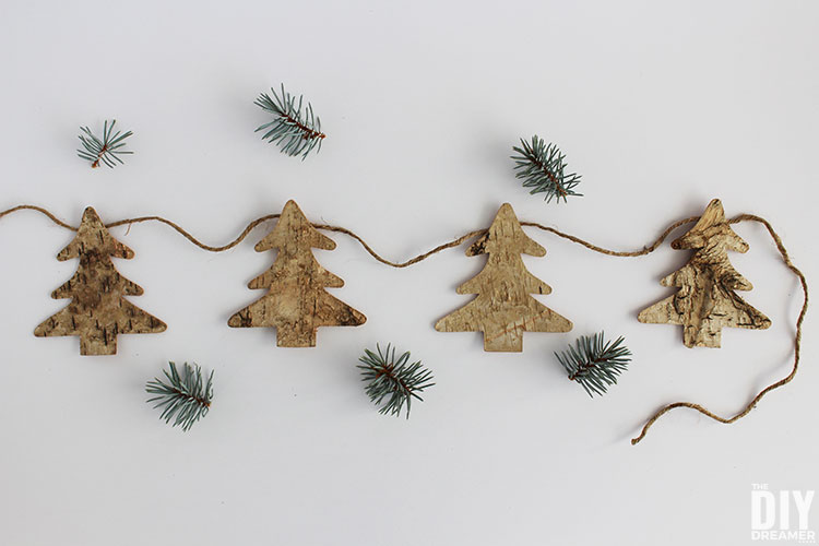 Easy to make birch tree Christmas garland.