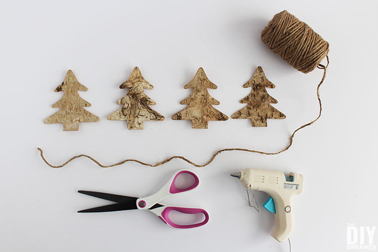 Supplies to make Christmas garland