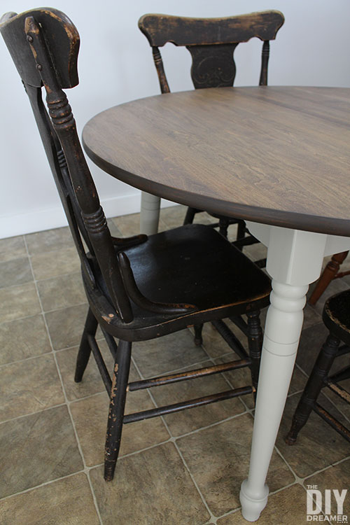 Dining table painted in Fusion Mineral Paint Bedford and stained with Homestead House Cappuccino Stain and Finishing Oil all-in-one