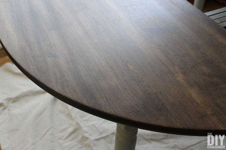 Let stain on tabletop dry completely before using