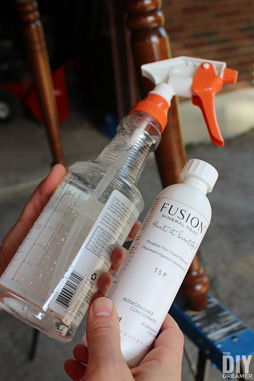 Fusion TSP concentrate mixed with water in a spray bottle