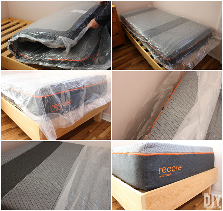 Recore mattresses are made to order and then placed in a box. The mattress expands to full shape much faster (since it has not been sitting in a box for a long period of time). You get to use it the same night you receive it.