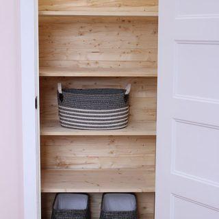 Closet makeover. DIY Closet Shelving and DIY Planked Closet