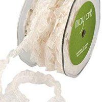 "May Arts Sheer Box Pleat 5/8""X10 Yards-Ivory"