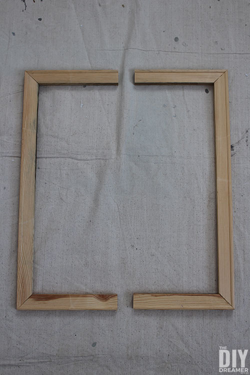 Wood frame cut in two