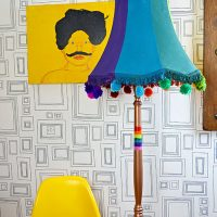 Colourful Spray Painted Upcycled floor lamp