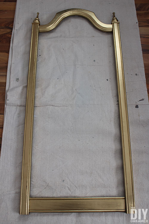 Frame painted in metallic gold with spray paint