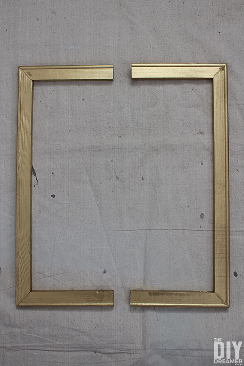 Gold canvas frame cut in two