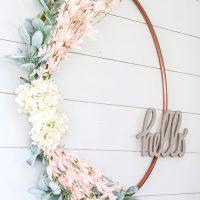 DIY $1 Spring Wreath from Hula Hoop
