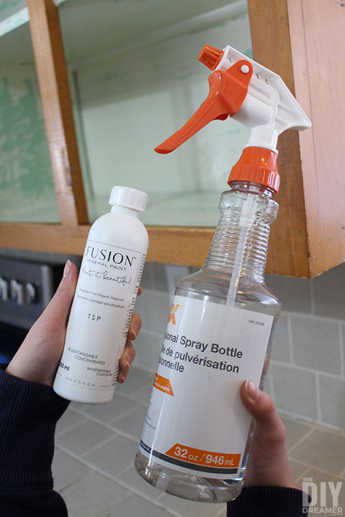 Fusion TSP in a spray bottle with water for easy application.