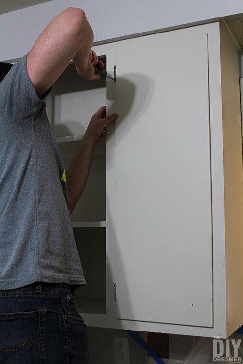 How to hang kitchen cabinet doors.