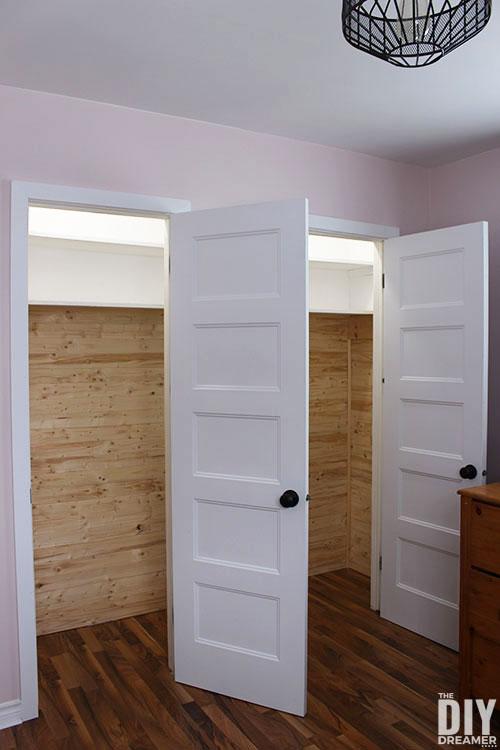 Planked closet walls