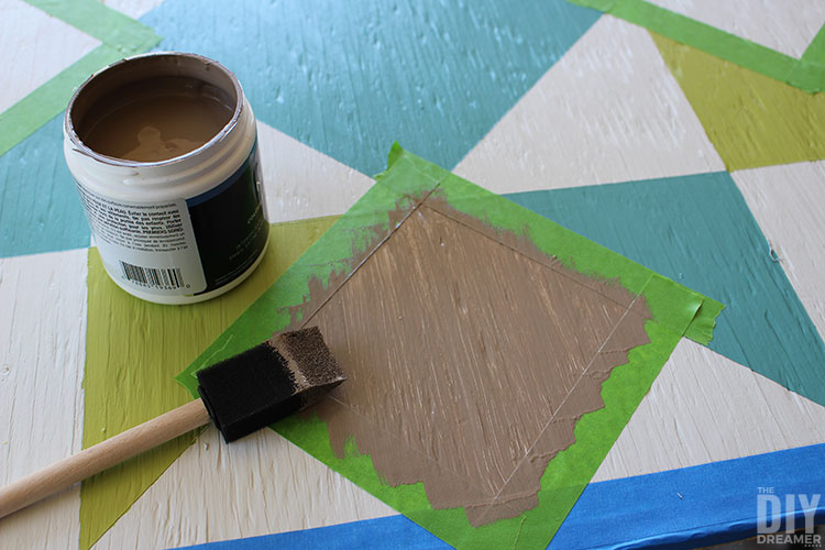Painting the rest of the barn quilt.