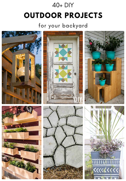 Over 40 DIY Outdoor Projects for your backyard. Backyard projects for various skill levels with all the same goal of adding beauty to your backyard.