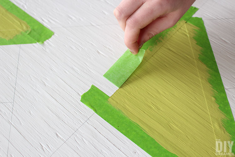 Remove painters tape when paint is still wet.