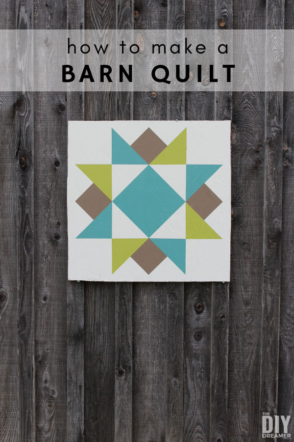 DIY Barn quilt on barn. Barn quilts are a great way to decorate outdoors. Easy barn quilt pattern.