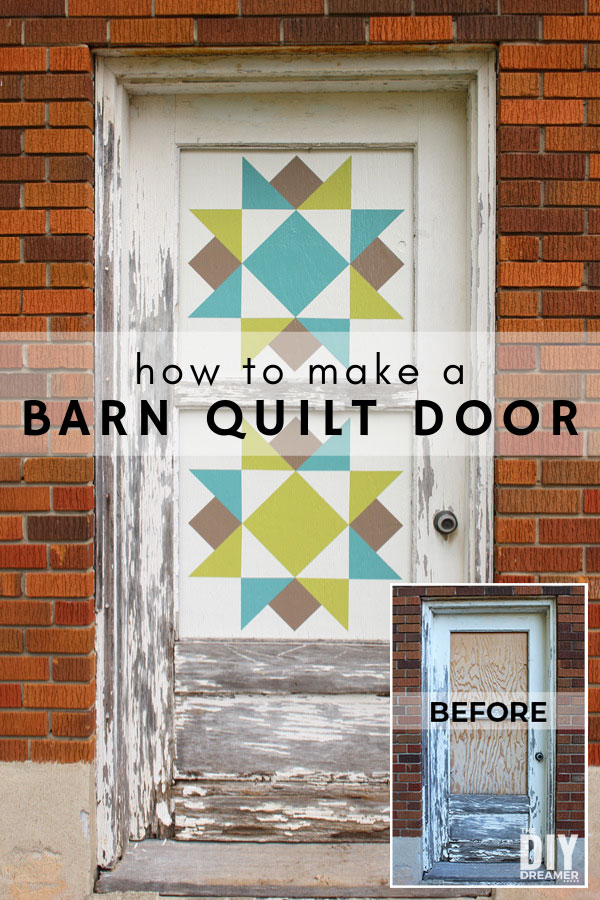 How to make a barn quilt door. Learn how to transform an old door into a barn quilt door. Barn quilts are a great way to decorate outdoors. Easy barn quilt pattern.