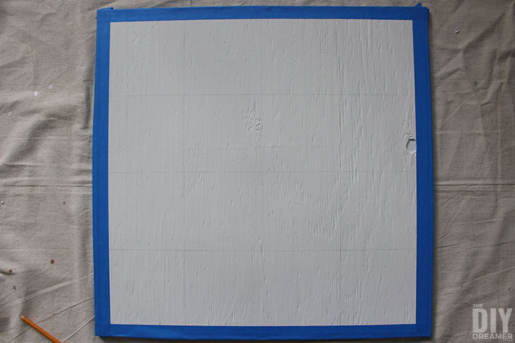 Draw squares to transfer barn quilt pattern onto the surface.