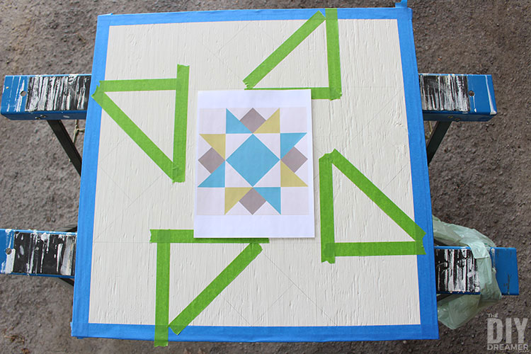 Use painters tape to mark design to make painting easier.