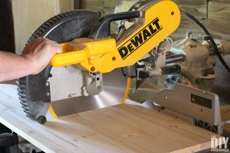 Use mitre saw to cut board to size.