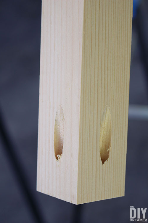 Table leg with pocket holes.
