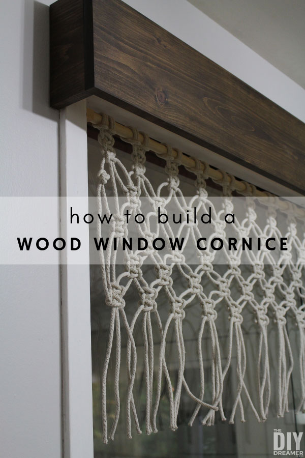 How to build a wood window cornice. It takes less than 2 hours to build this DIY wood window cornice. Fast and easy way to give a window a new look. Pair the wooden window cornice with a macrame valance for an even more stunning look.