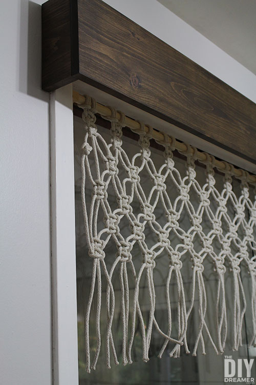DIY Macrame Window Valance with a wood cornice.