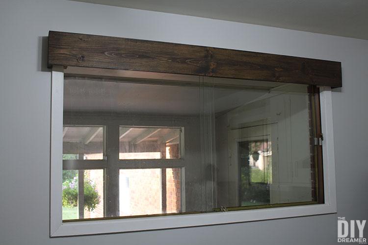 DIY wooden window cornice.