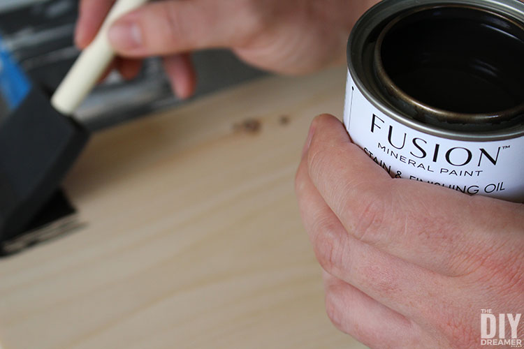 Fusion Mineral Paint All in One Stain and Finishing Oil in cappuccino.