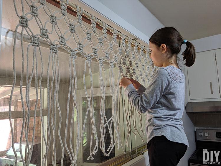 DIY Macrame Valance using 100% cotton rope.