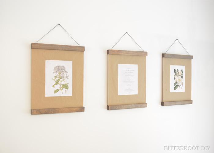 Modern Wood Picture Frame & Botanical Prints
