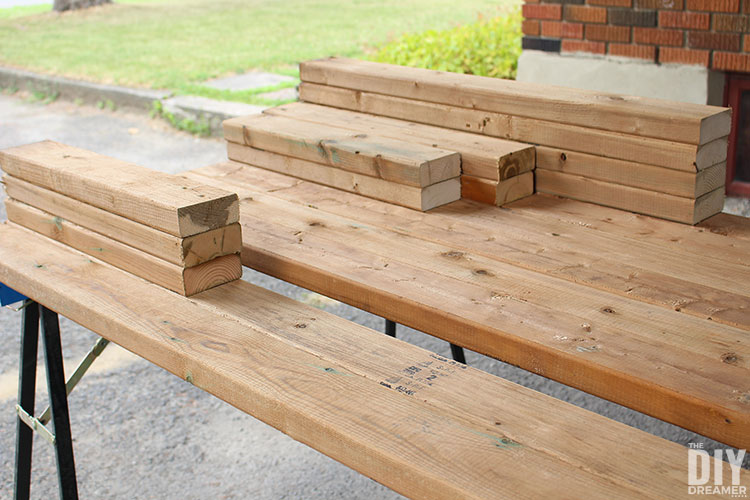 2x4s to build an outdoor bar table.
