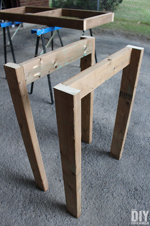 DIY table legs for the outdoor bar table.