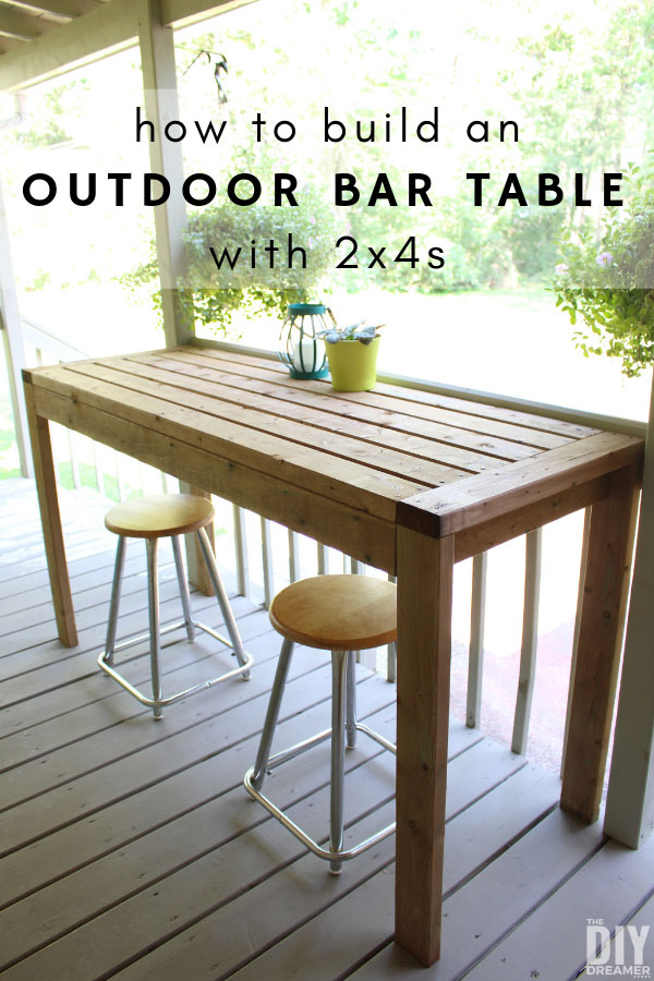 How to build an outdoor bar table with 2x4s.