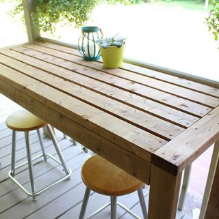 DIY 2x4 outdoor bar table.