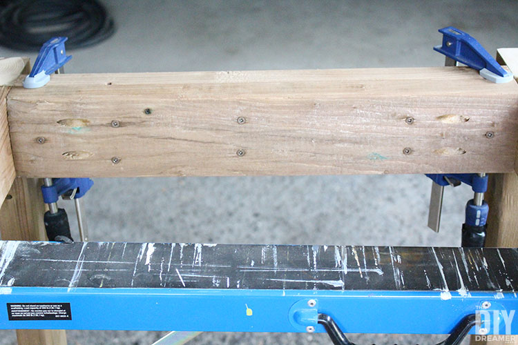 Decking screws to attach the legs to the table frame.