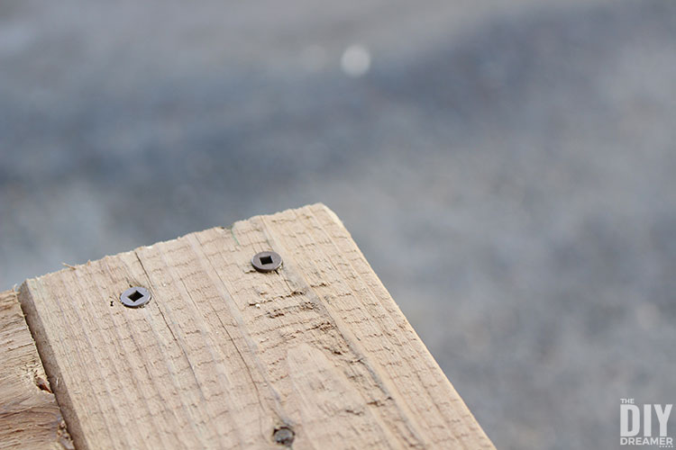 Tabletop with decking screws.