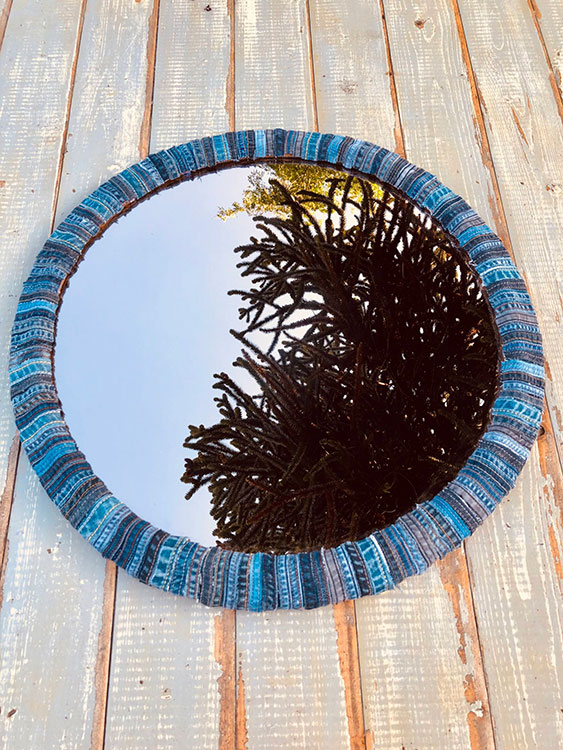 DIY Denim Mirror Frame, a perfect no sew old jeans craft project · vicky myers creations