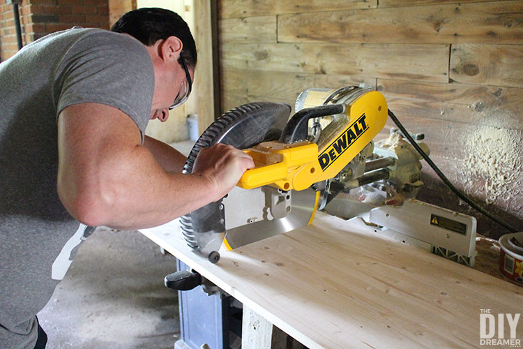 Using a miter saw to cut hobbyboard.